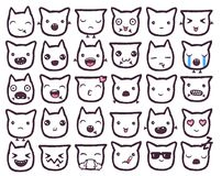 Hand drawn vector emoticons collection. Isolated emoticons on white background Royalty Free Stock Images