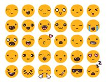 Hand drawn vector emoticons collection. Isolated emoticons on white background Royalty Free Stock Photos