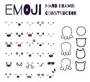 Hand drawn vector emoticons collection. Isolated emoticons on white background Stock Photo