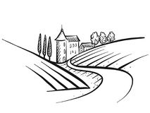 Hand-drawn vector farmland sketch. Landscape and Houses with path Royalty Free Stock Photo