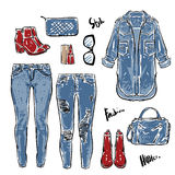 Hand drawn vector fashion Collection of women's jeans light blue Stock Photos