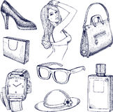 Hand drawn vector fashion elements Stock Photos