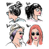 Hand drawn vector fashion girls hipster Stock Photo