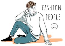 Hand drawn vector fashion man portrait. Fashion people. Graphic stylish illustration. Quick sketching outline picture. Hand drawn vector fashion man portrait royalty free illustration
