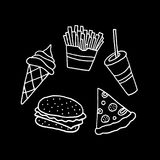 Hand Drawn Vector Fast Food Collection Royalty Free Stock Photography