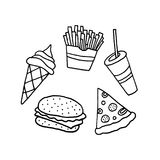 Hand Drawn Vector Fast Food Set Royalty Free Stock Photography