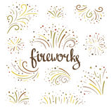 Hand drawn vector fireworks on white background. Hand drawn vector colorful fireworks on white background Royalty Free Stock Photo