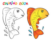 Hand drawn vector fish in black and white. Coloring book Royalty Free Stock Photography