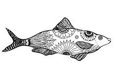 Hand drawn vector fish. With floral elements in black and white doodle style. Pattern for coloring book Stock Photo