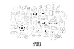 Hand drawn vector fitness and sport doodle icons set Royalty Free Stock Photography