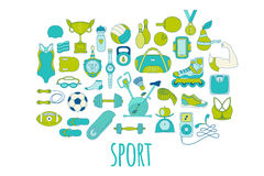 Hand drawn vector fitness and sport doodle icons set Stock Images