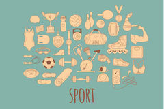 Hand drawn vector fitness and sport doodle icons set Royalty Free Stock Photo