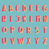 Hand drawn vector flat modern full alphabet. Colorful 3d hand drawn vector flat modern full alphabet. The vector Roman alphabet. With grey shadow for game Royalty Free Stock Photo