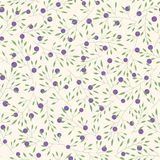 Hand drawn vector floral pattern with branches, leaves and blueberries Stock Photos