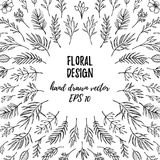 Hand drawn vector floral template. Christmas design elements le Stock Images