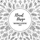 Hand drawn vector floral template. Christmas design elements le Royalty Free Stock Photo
