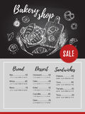 Hand drawn vector flyer - bakery shop. Basket with pastry (donut royalty free illustration