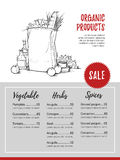 Hand drawn vector flyer - Organic Products. Fresh vegetables.  Stock Photos