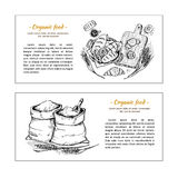 Hand drawn vector flyers - bakery shop. Basket with pastry. Sack Royalty Free Stock Photos