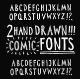 Hand drawn vector fonts set Stock Photos