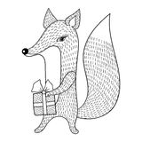 Hand drawn vector Fox with gift. Doodle zentangle style. Child i Royalty Free Stock Images