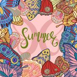 Butterfly wings with summer lettering vector illustration