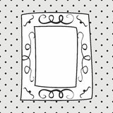 Hand drawn vector frame on polka dots grey background Royalty Free Stock Photography