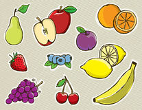 Hand Drawn Vector Fruit. Set of hand drawn vector fruit. Layered EPS 10 file Royalty Free Stock Photography