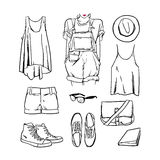 Hand drawn vector girl clothing and accessories outline. Hand drawning vector girl clothing and accessories outline Royalty Free Stock Images