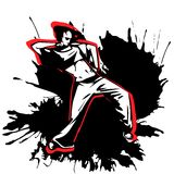Hand drawn vector girl street dancer. On grunge background Royalty Free Stock Photo