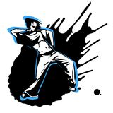 Hand drawn vector girl street dancer. On splashed background Stock Photography