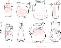 Hand drawn vector graphic Kitchen glassware utensils pitcher,bottle glasses bowel drinking accessories seamless pattern Stock Photos