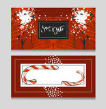 Hand drawn vector graphic modern Merry Christmas greeting decoration cards templates set with graphic polar bear Stock Photography