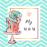 Hand drawn vector greeting card with cake and succulent flower decoration on cake stand with Love my mom quote isolated Royalty Free Stock Photos