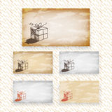 Hand drawn vector greeting or gift card designs wi Stock Photos