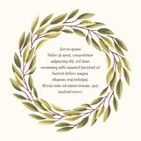 Green leaves frame-03. Hand drawn vector greeting or invitation card with wreath of green textured leaves vector illustration