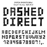 Hand drawn vector grunge alphabet. Hand drawn alphabet, written grunge font with symbols in technique of direct hatching: stylized black capital letters, numbers Royalty Free Stock Images
