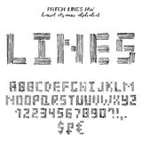 Hand drawn vector grunge alphabet. Hand drawn alphabet, written grunge font with symbols in technique of linear hatching: stylized black capital letters, numbers Royalty Free Stock Photos