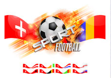 Hand drawn vector grunge banner with soccer ball, stylish composition and orange watercolor background, Stock Photo