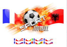 Hand drawn vector grunge banner with soccer ball, stylish composition and orange watercolor background, Stock Photography