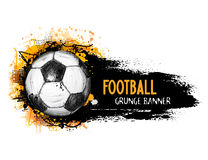 Hand drawn vector grunge banner with soccer ball Royalty Free Stock Photography