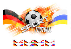 Hand drawn vector grunge banner with soccer ball, stylish composition and orange watercolor background, Stock Photos