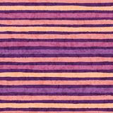 Hand drawn vector grunge stripes of orange, pink and yellow colors seamless pattern on the purple background. Stock Photos