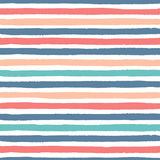 Hand drawn vector grunge stripes of red, blue, green and yellow colors seamless pattern. On the white Royalty Free Stock Image