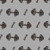 Hand drawn vector gym seamless pattern - sport and Royalty Free Stock Image