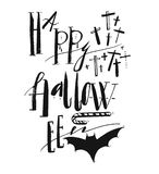 Hand drawn vector Halloween Poster with handwritten modern lettering phase Happy Halloween. Chross,bat and candy.Design element for halloween party or sign Stock Image