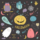Hand drawn vector halloween set Royalty Free Stock Photography
