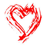 Hand drawn vector heart. Dry brush ink illustration. Grunge rough texture. Royalty Free Stock Photography