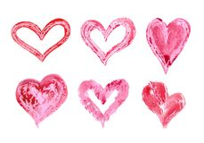 Hand drawn vector heart set with different tools like brushes, chalk, ink. royalty free illustration