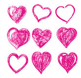 Hand drawn vector hearts Royalty Free Stock Photos